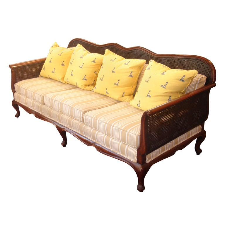 british colonial double cane sofa at 1stdibs. Black Bedroom Furniture Sets. Home Design Ideas