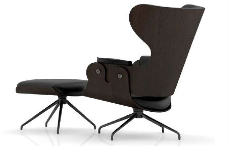 LEATHERED SWIVEL LOUNGER W/ FOOTSTOOL BY JAMIE HAYON 2