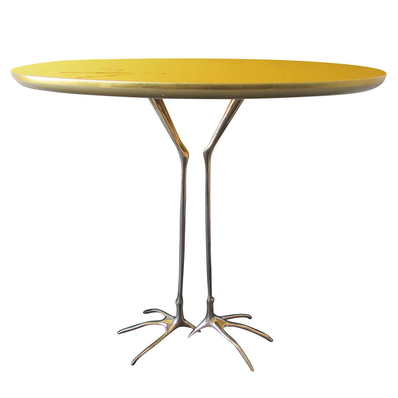 Small table gold leafed w brass legs by meret oppenheim at for Small gold side table