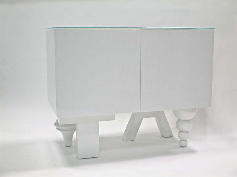 MULTI-LEG CABINET by JAIME HAYON IN HIGH GLOSS WHITE LACQUER (2003)