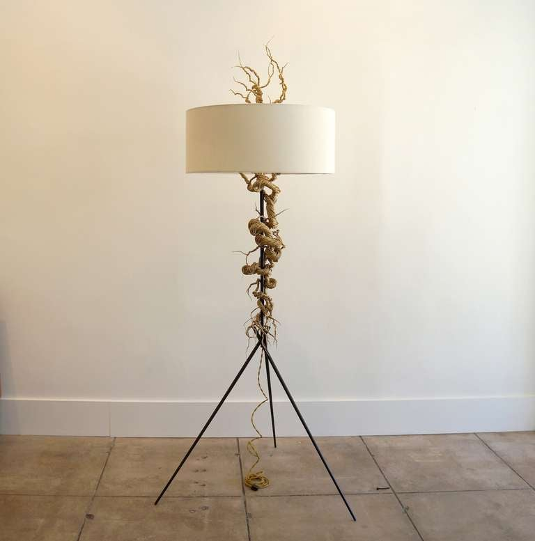 Twisted Brass Wire / Tripod Floor Lamp For Sale At 1stdibs