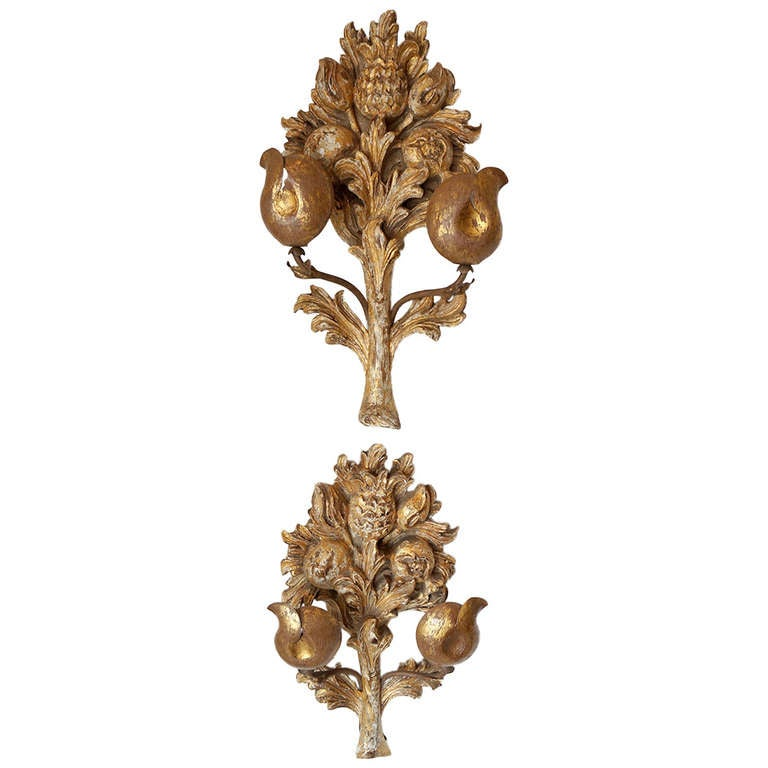 Hand-Carved Giltwood Sconces For Sale