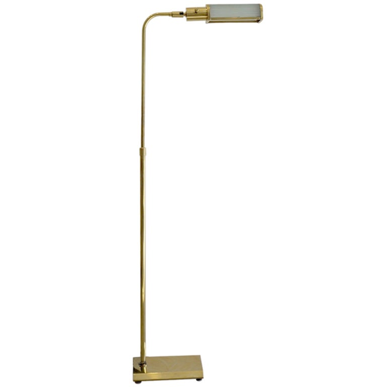 Ribbed Brass Floor Lamp: Ribbed Acrylic And Brass Articulating Pharmacy Lamp At 1stdibs