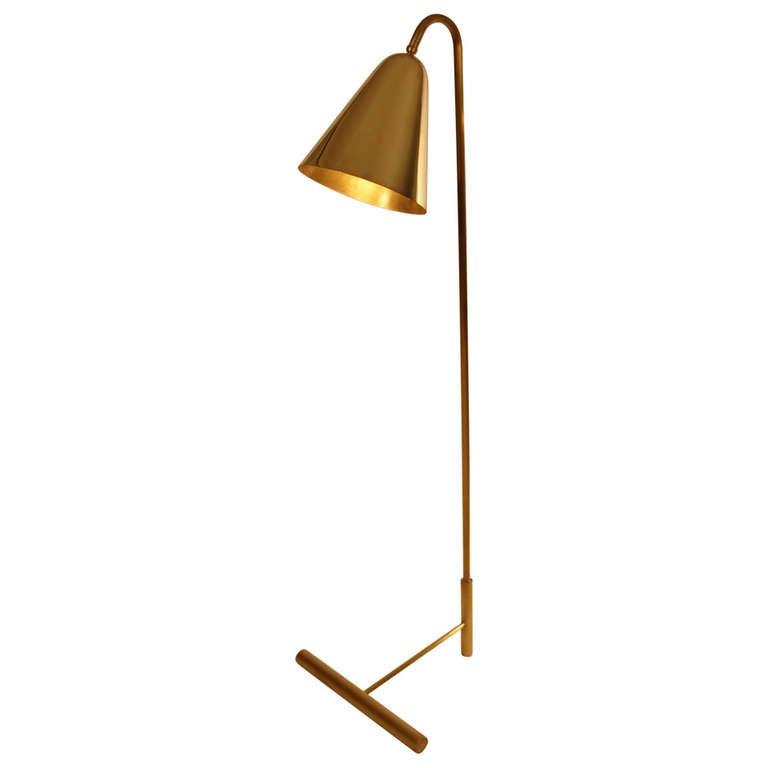 Metal Lamp Cone Shade: Brass Cone Shade Floor Lamp At 1stdibs