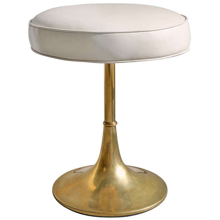 Brass Tulip Base Stool At 1stdibs