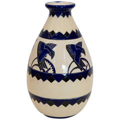 Rare Cobalt and Cream Charles Catteau Vase