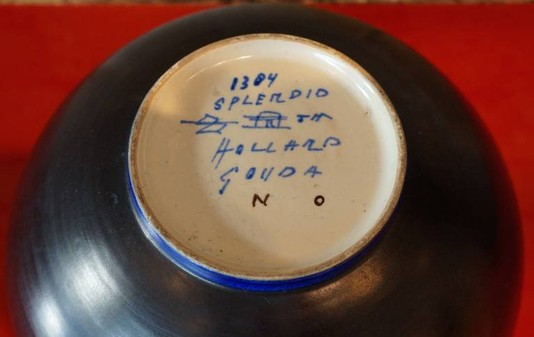 Glazed Modernist Ceramic Bowl For Sale