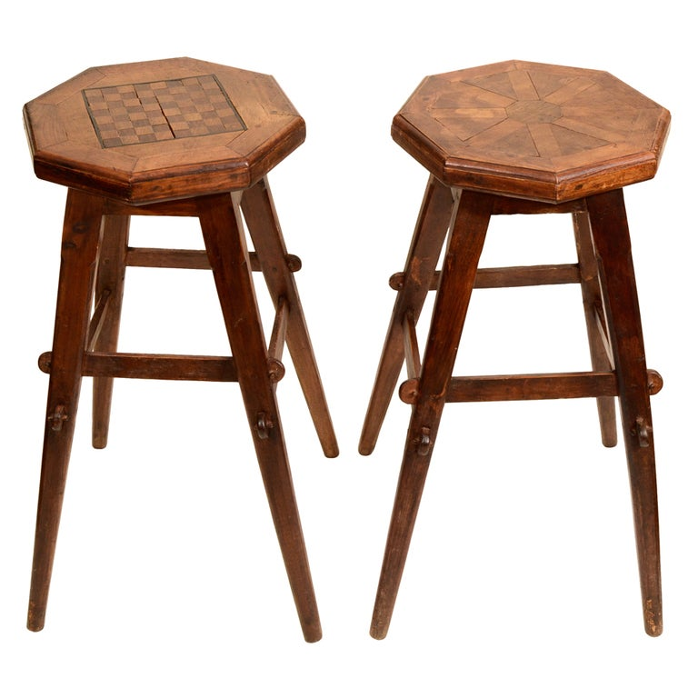 Near pair folk art parquetry bar stools england late for Bar stools near me