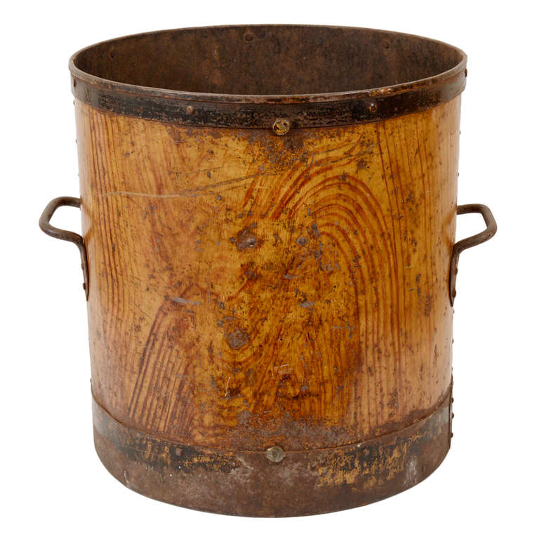 Painted Faux Bois Metal Bin, England, Late 19th  Early 20th C at