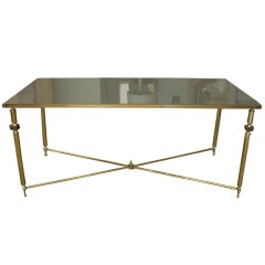 Vintage Glass And Brass Coffee Table