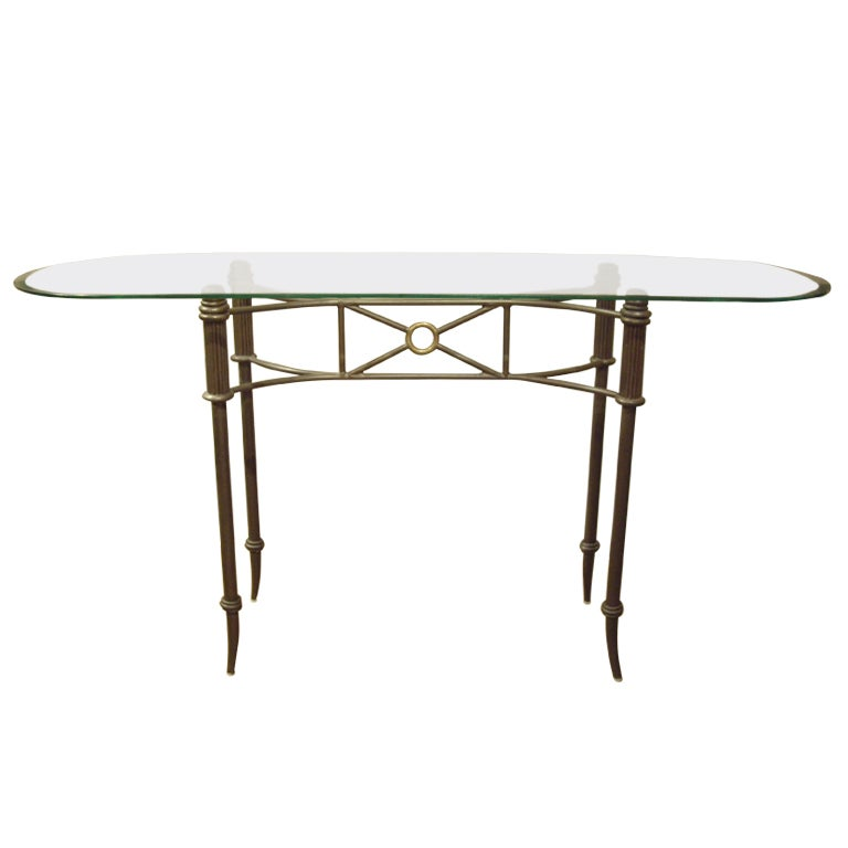 Vintage metal and glass console at 1stdibs for Metal and glass console tables