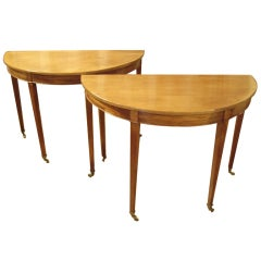 Pair English D-End consoles/dining table