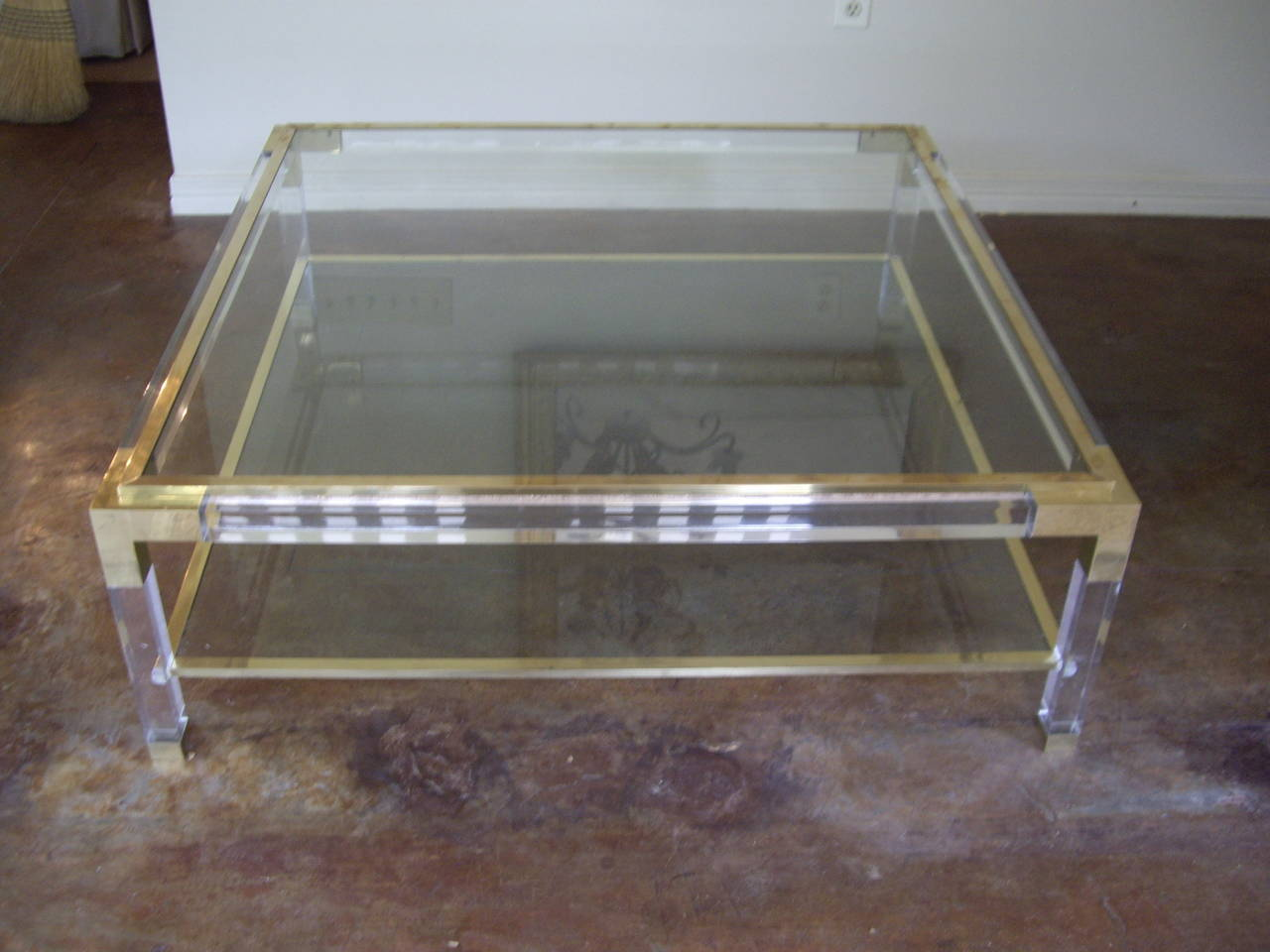 Vintage brass lucite and glass square coffee table at 1stdibs for Brass and glass coffee table