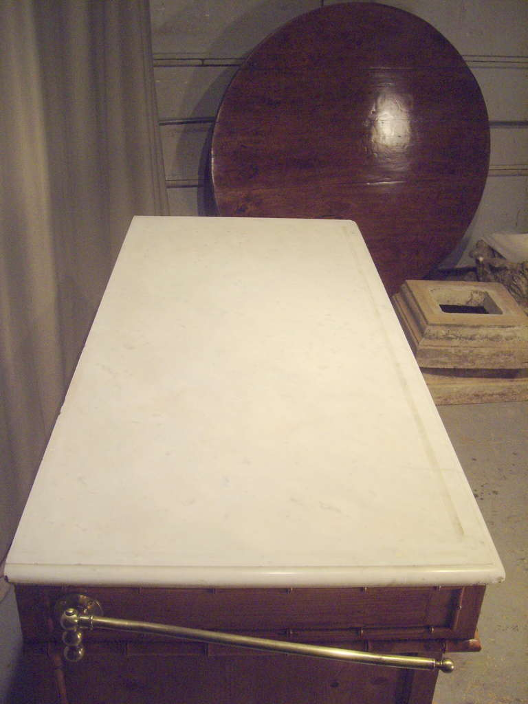 19th century french pine bathroom cabinet with marble top