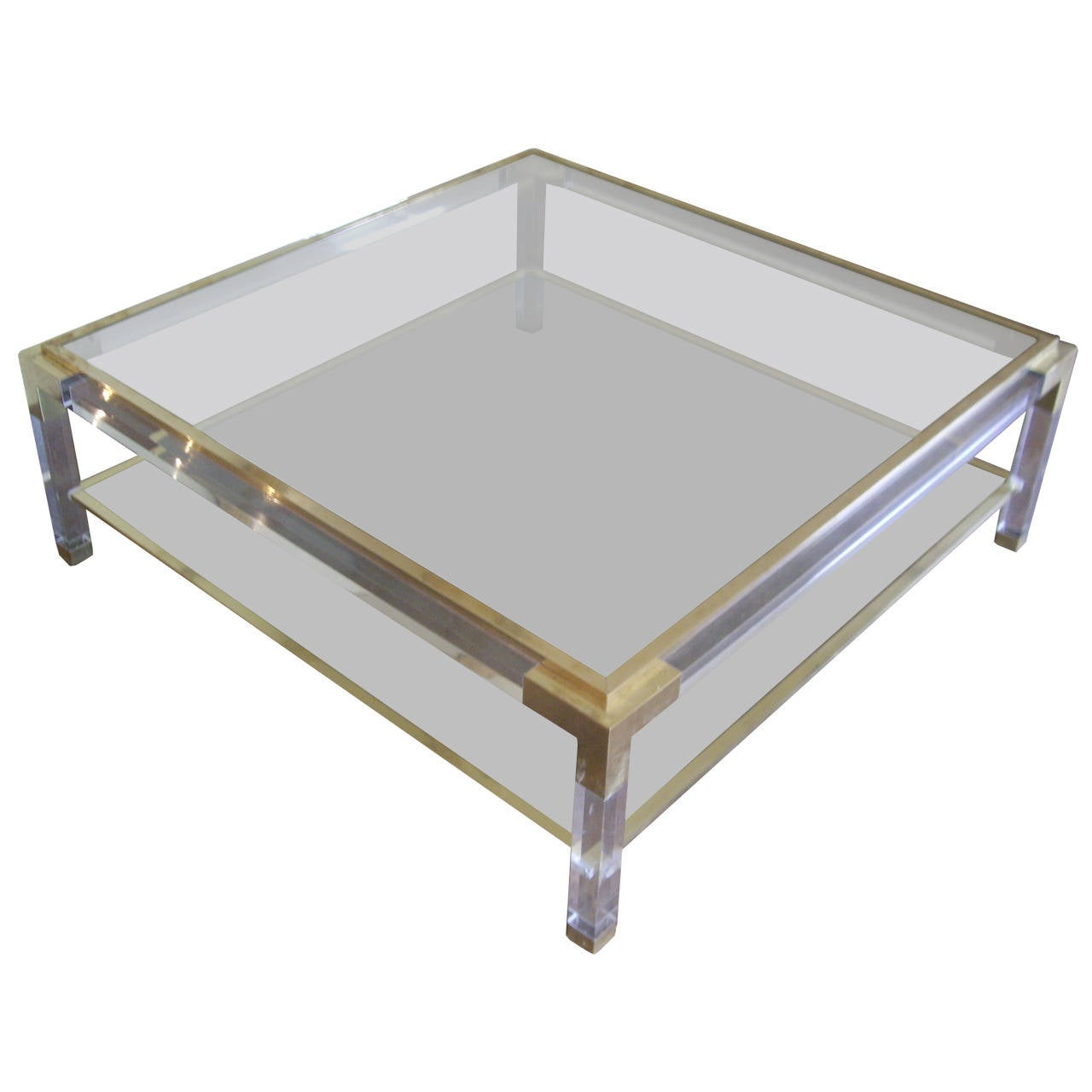 Vintage brass lucite and glass square coffee table at 1stdibs for Coffee table