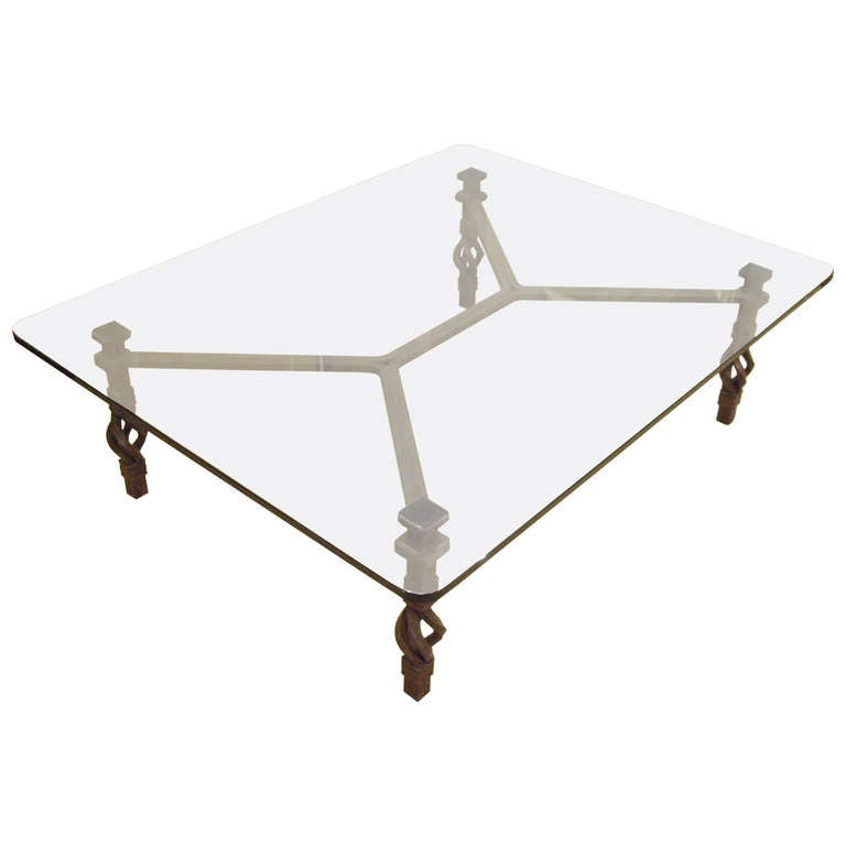 Vintage Italian Wrought Iron And Glass Coffee Table At 1stdibs