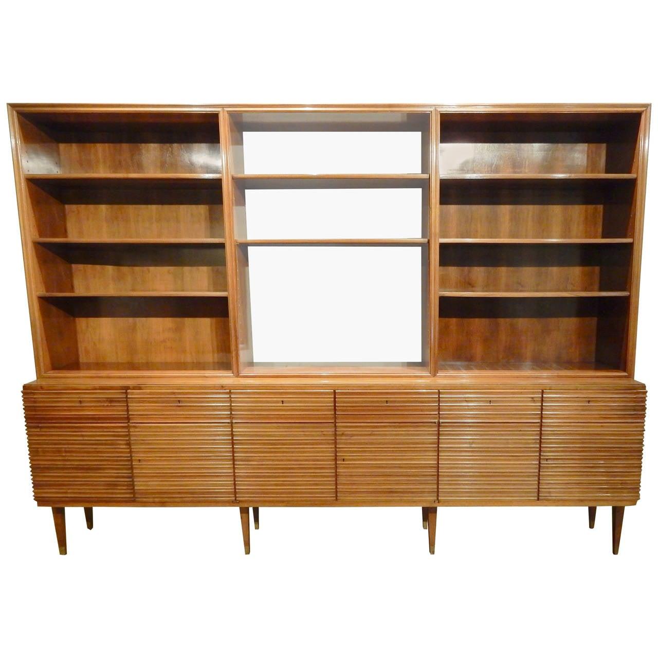 Italian Mid Century Modern Walnut Bookcase Cabinet At 1stdibs