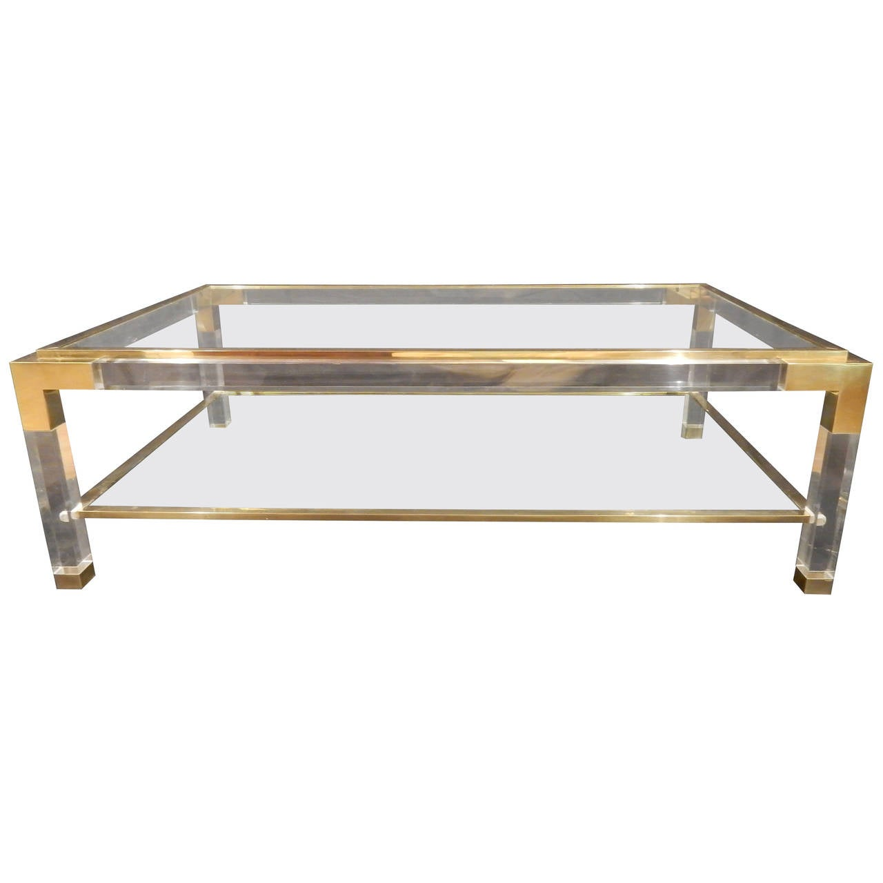 Vintage brass lucite and glass coffee table at 1stdibs for Vintage coffee table