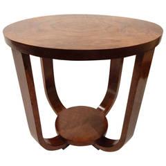 Small Round Art Deco Walnut Table