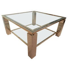 Square Chrome, Glass and Brass Trimmed Coffee Table