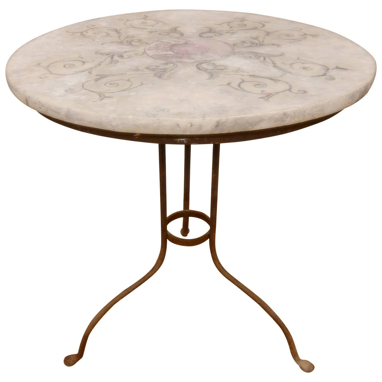 Faux marble top on iron base table at 1stdibs