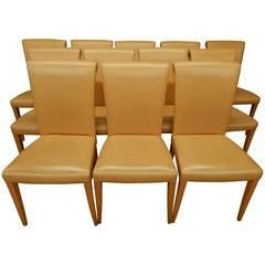 12 Italian Poltrona Frau Leather Dining Chairs