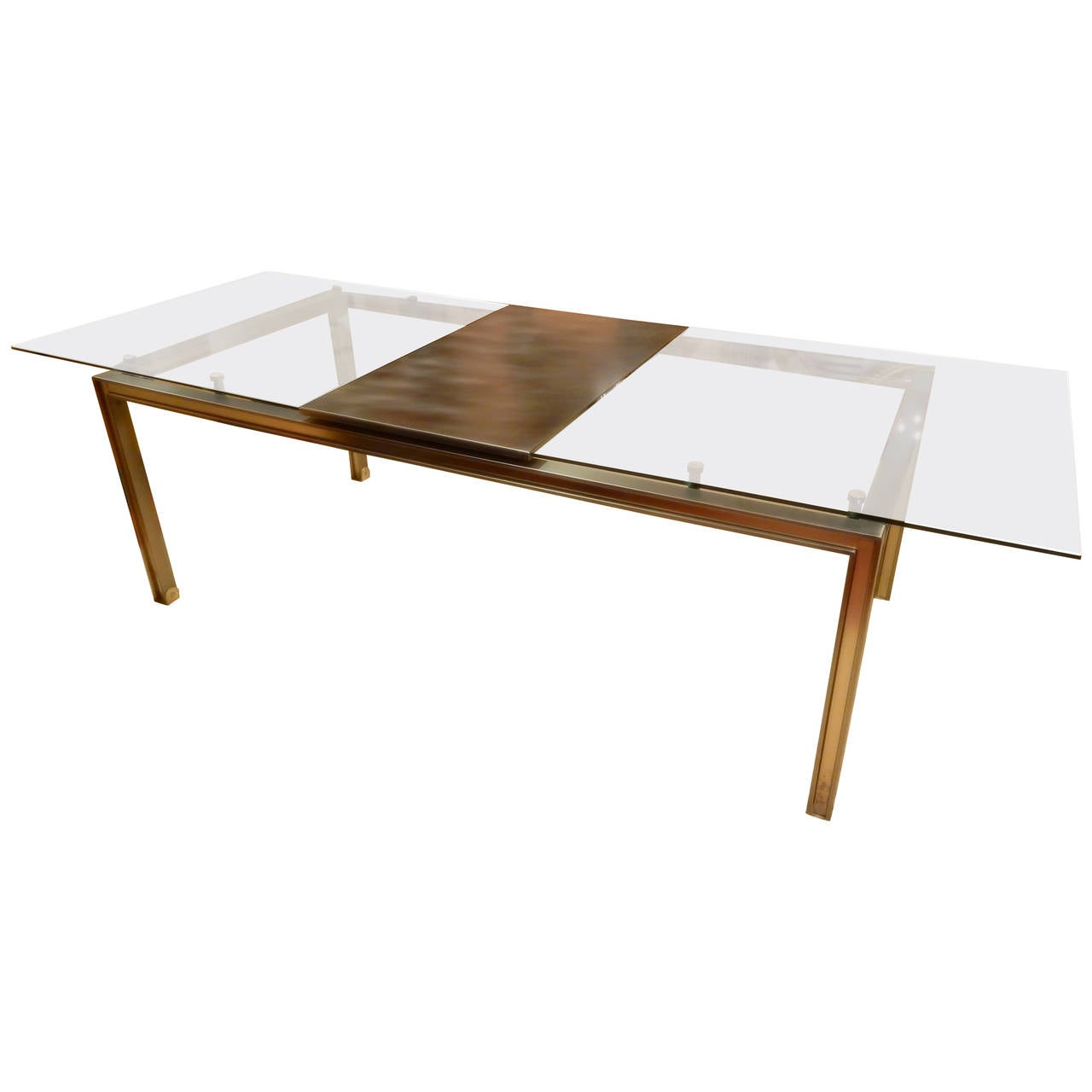 1970s glass and metal extension dining table at 1stdibs for Metal glass dining table