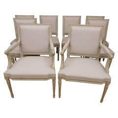Set of 8 Louis XVI style painted dining chairs