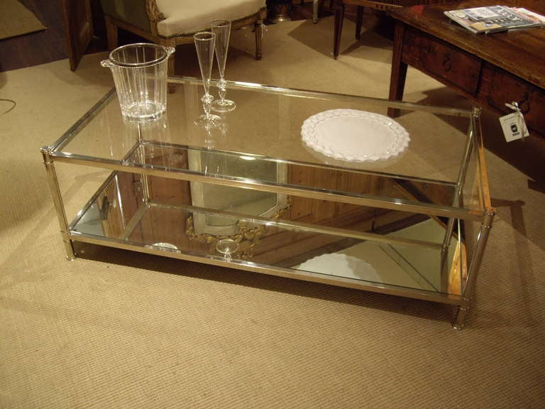 vintage silver and glass coffee table at 1stdibs
