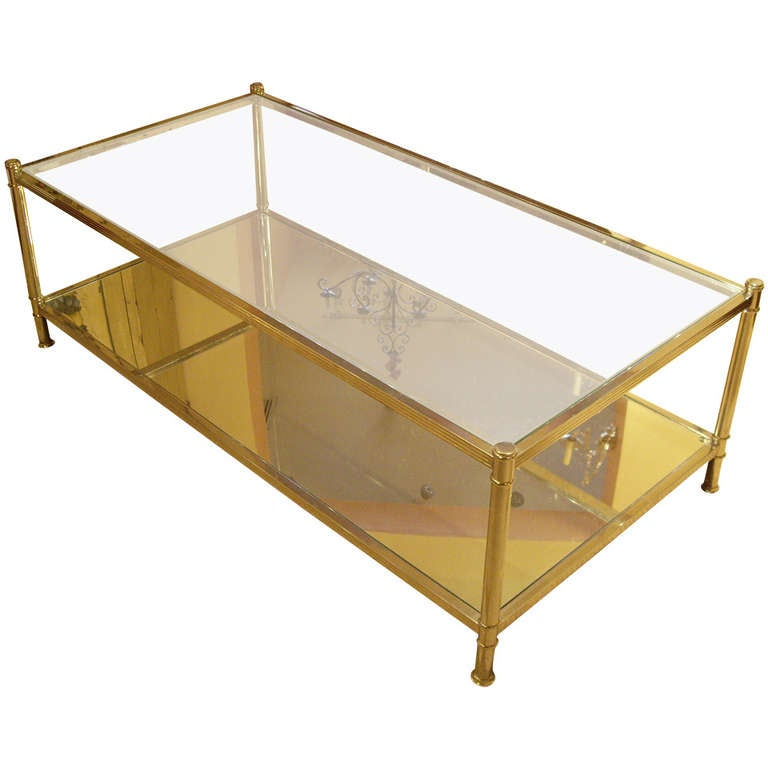 Antique Silver Glass Coffee Table: Vintage Silver And Glass Coffee Table At 1stdibs