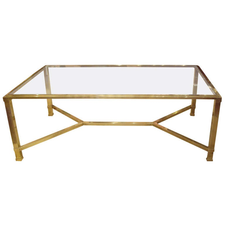 Vintage french glass and brass coffee table at 1stdibs for Brass and glass coffee table