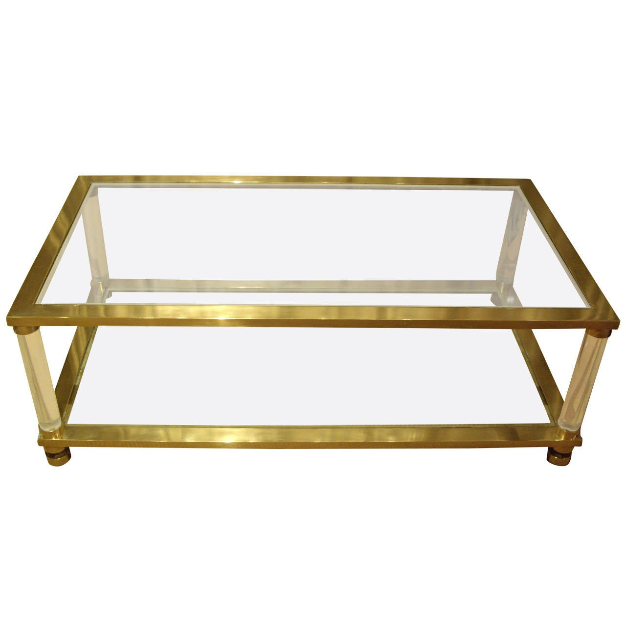 French Vintage Brass Glass And Lucite Coffee Table At 1stdibs