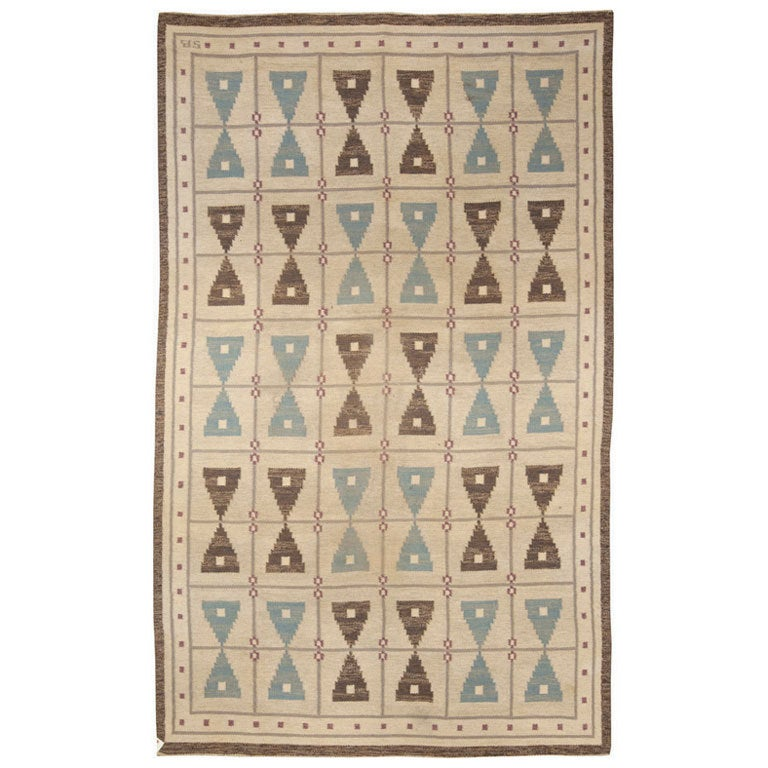 "A Swedish Flat Weave Rug ""Hour Glass"" Design Sigvard Bernadotte"