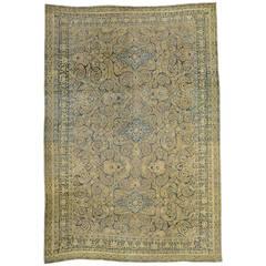 Antique Washed Persian Tabriz Rug
