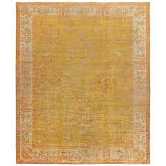 Antique Turkish Oushak Angora Rug