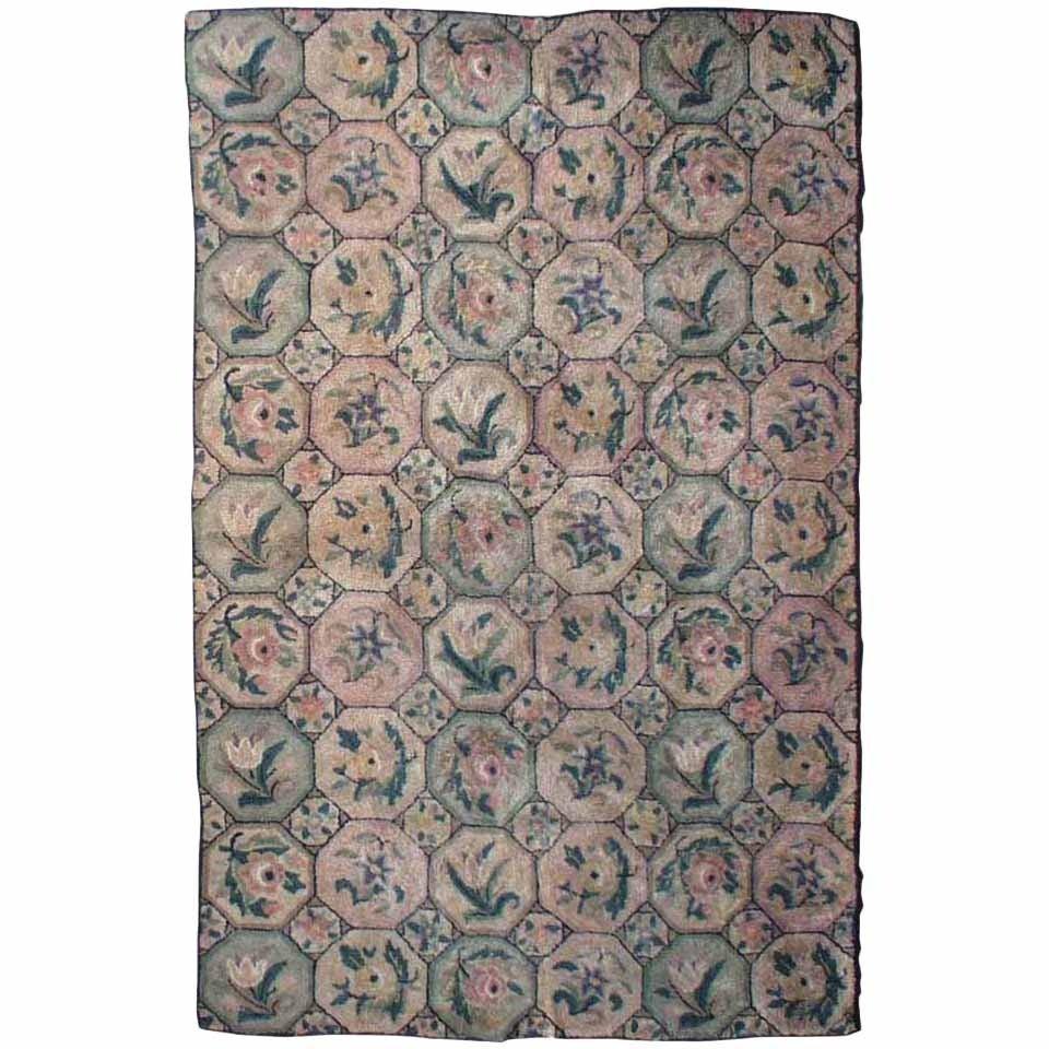 vintage american hooked rug for sale at 1stdibs. Black Bedroom Furniture Sets. Home Design Ideas