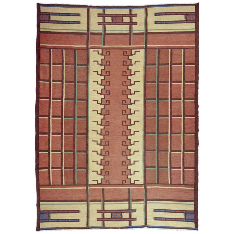 Swedish art deco flat woven rug by tora hokansson for sale at 1stdibs - Deco moderne flat ...