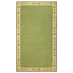 Midcentury Swedish Green Flat-Woven Rug
