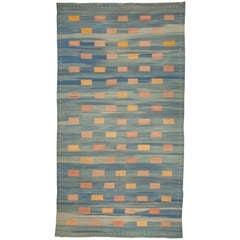 Vintage Moroccan Flat-Weave Rug