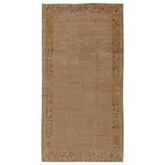 One-of-a-kind Vintage Chinese Botanic Handmade Wool Rug