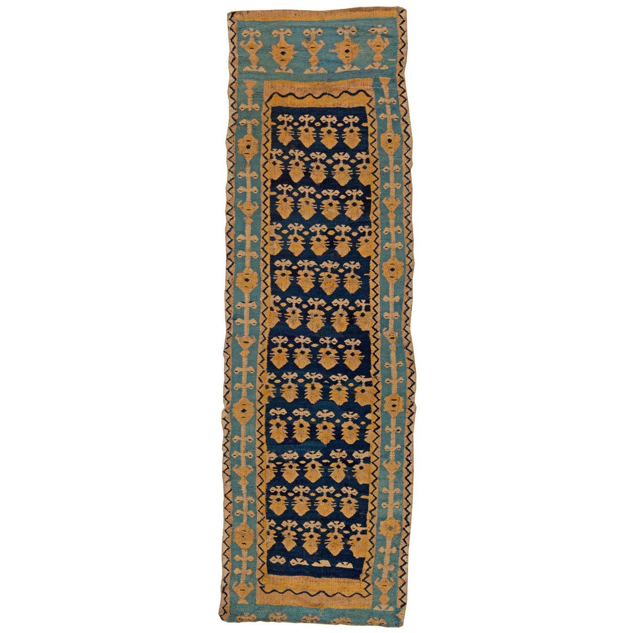 Antique Spanish Flat-Weave Runner Rug