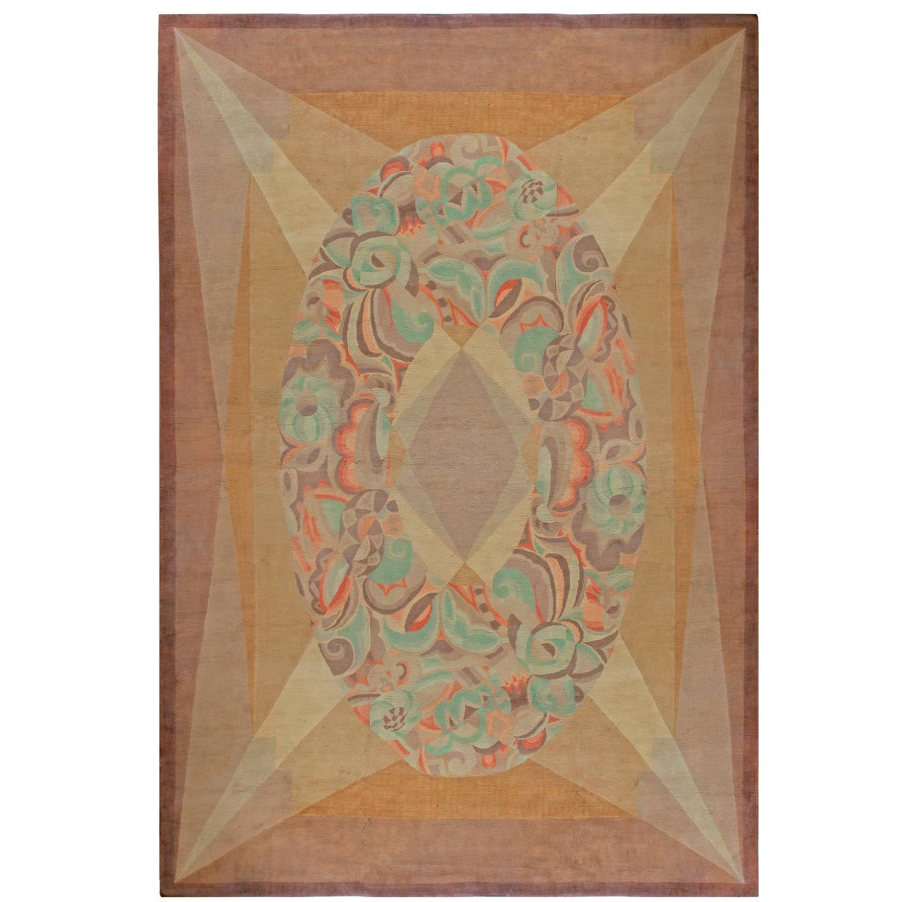 Vintage French Art Deco Rug At 1stdibs