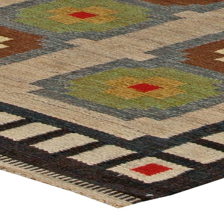 Wonderful Vintage Scandinavian Flat Weave Rug 3