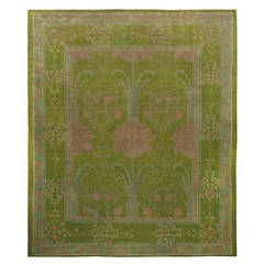 Arts & Crafts Voysey Donegal Rug in Stunning Green
