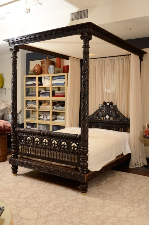 A Finely Carved Anglo Indian Ebonized Mahogany Tester Bed At 1stdibs