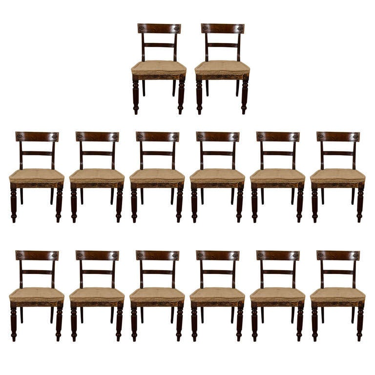 A Set of 14 George IV Mahogany Dining Chairs from Bath, UK at 1stdibs