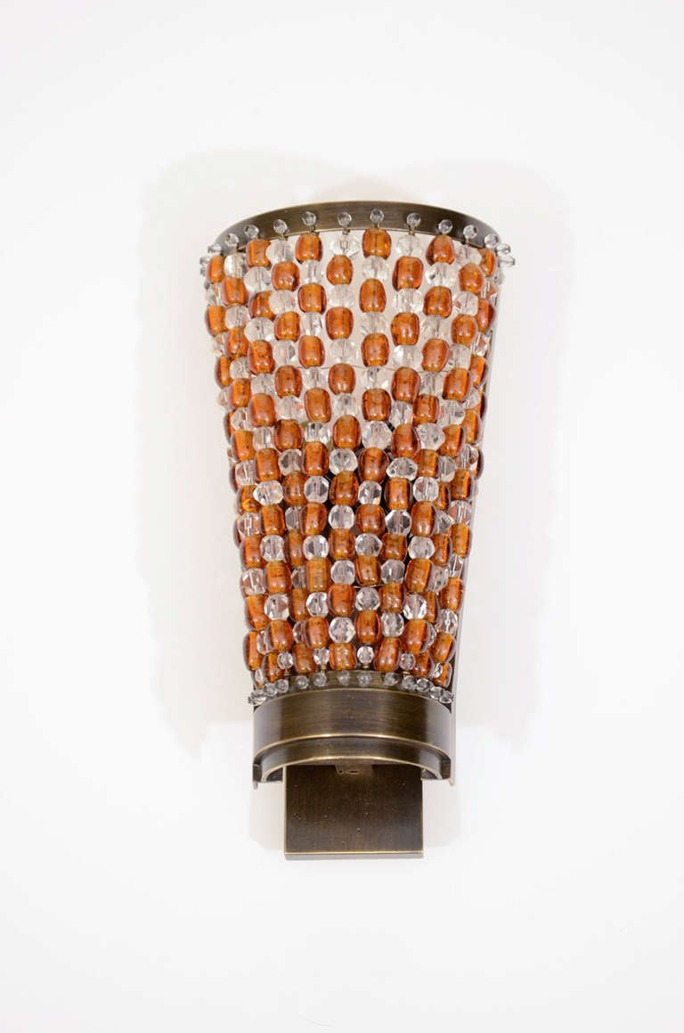 Amber Crystal Wall Lights : Amber And Clear Crystal Sconces Signed Baccarat at 1stdibs