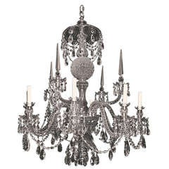 Georgian Style Cut Crystal Eight Light Chandelier
