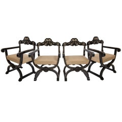 Set of Four Bone Inlaid Chairs