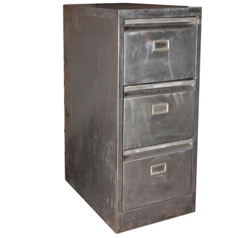 Industrial brushed metal filing cabinet at 1stdibs for Brushed aluminum kitchen cabinets